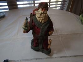 Clothtique santa 1985 Christmas ornament wood stocking Possible Dreams LTD sack - $32.66