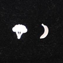Silver Broccoli and Banana Stud Earring - $32.00