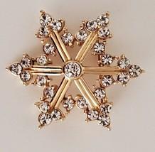 Snowflake Pin Clear Rhinestones Gold Tone Brooch Vintage  - $14.99