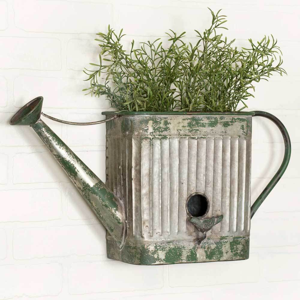 Vintage Style Corrugated Water Watering Can Wall Planter