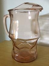 Hazel Atlas Pink Glass Pitcher Art Deco Depression Glass - $70.00