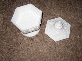 Imperial Glass Opaque Milk Glass Six Sided Covered Candy Dish With Grapes & Vine - $7.91