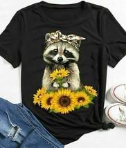 Sunflower Raccoon Ladies T-Shirt Cotton S-3XL - £14.51 GBP+