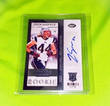 NFL ZACH SUDFELD NEW YORK JETS AUTOGRAPHED 2013 PANINI CONTENDERS RC MINT - $1.79