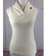 Ralph Lauren Size Small Ivory Cashmere Blend Collared Sweater Vest - $25.03
