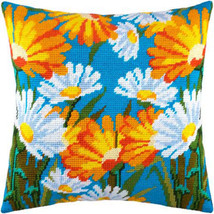 Camomiles pillowcase cross stitch DIY embroidery kit, needlepoint, needl... - $37.62
