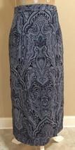 Talbots Paisley Wrap Skirt Long Blue 8 Petites 100% Silk Modest Career C... - $23.55