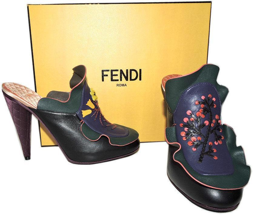 1,550 Fendi Embroidered Ruffles Mule Floral Waived Leather Clogs Shoe Heels 37 image 4
