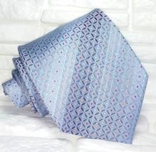 Necktie men blue  Jacquard Made in Italy 100% silk men's ties Morgana br... - $60.39