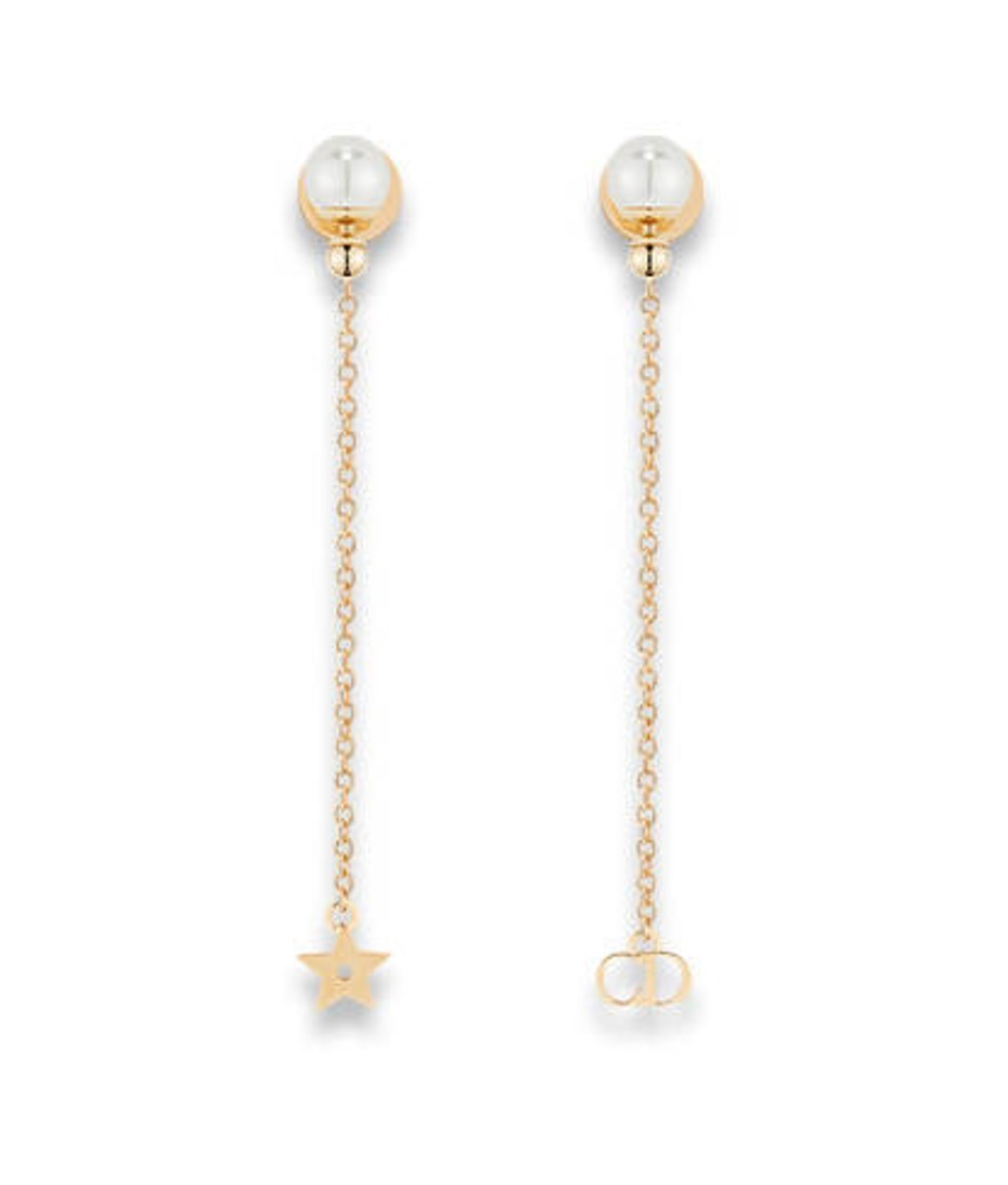 "Authentic Christian Dior ""LA PETITE TRIBALE"" EARRINGS Pearl Dangle Star"
