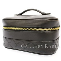 CHANEL Vanity Bag Calf Leather Black A01618 Pouch Italy Authentic 5474899 - $468.76