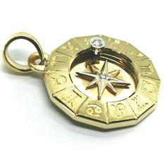 18K YELLOW GOLD ZODIAC SIGN ROUND 25mm DIAMOND PENDANT WIND COMPASS ZODIACAL image 3
