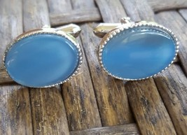 Vintage SWANK Cuff Links Silver Tone Metal Blue Cabuchon Oval Midcentury... - $12.19