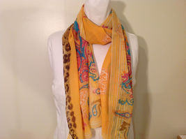 Paisley, Lines, Leopard Print Summer Sheer Fabric Multicolor Scarf, 6 colors image 11