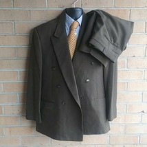 Mens 44R Cellini 2 Piece Brown 83% polyester 17% wool  Double Breasted Suit - $45.05