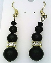 Black Onyx Bead Gold Earrings - $44.99