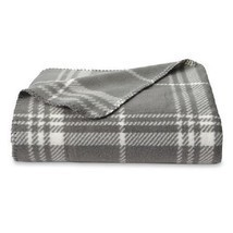 NEW Essential Home Fleece Throw 50 x 60 in gray plaid - $14.60