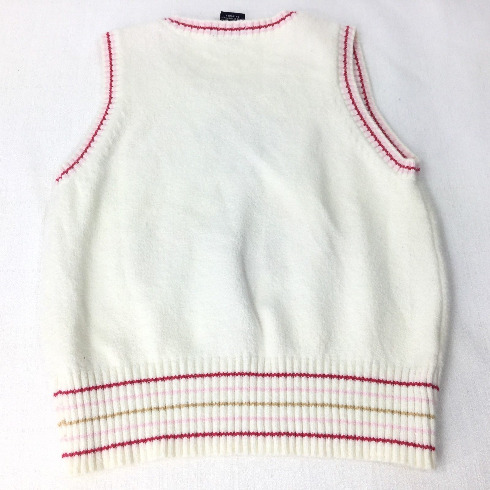 Gap Girl Size Medium Vest White/Pink/Red (7-8) Argyle/Diamond
