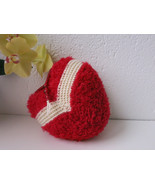 Handmade knitted decorative heart  throw pillow - red and white - $22.00