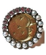 MARS & VALENTINE STERLING SILVER MAN IN THE MOON CELESTIAL STARS PEARL H... - $225.00