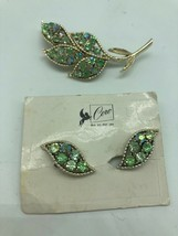 Vintage Signed Coro Rhinestone Pin Clip Earrings On Original Card Set Blue Green - $38.62