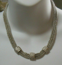 Vintage Signed Napier 3 Strand linked chain Necklace  - $34.65
