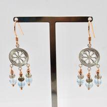925 Silver Earrings Laminate Rose Gold with Smoky Quartz aquamarines image 6