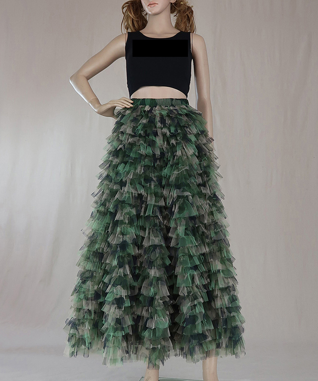 Army pattern maxi tulle skirt  2