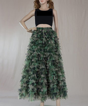 Army Pattern Layered Tulle Skirt Outfit Lady High Waist Tiered Maxi Tulle Skirt  image 1