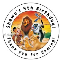 12 Personalized Lion King Birthday Party Stickers labels favors round tags - $8.99