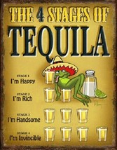 Tequila 4 Stages Liquor Jose Funny Humor Wall Bar Man Cave Decor Metal T... - $15.99