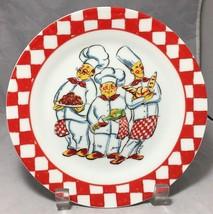 I. Godinger Three chefs with Pasta bread & wine red checkers rim dessert... - $5.89