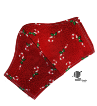 Face Mask Red Candy Canes Christmas Holiday 3 Layer Cotton Facemask Hand... - $13.50