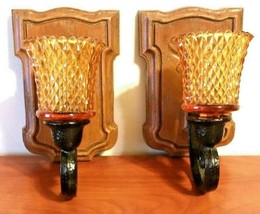 HOMCO Pair of Wall Sconces Brown Black Resin #4222 W/ Amber Diamond Cut ... - $24.75