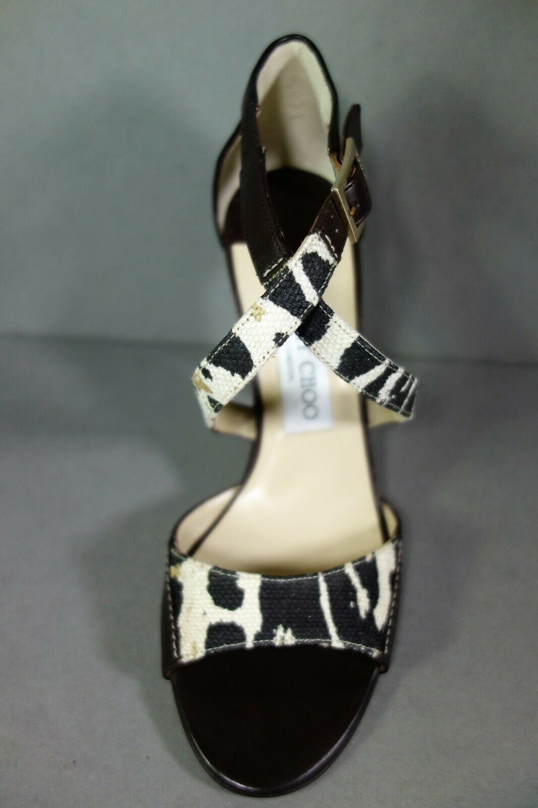 Jimmy Choo 36 Pioneer Leopard Print Canvas Dark Brown Leather Sandals Shoes NEW image 5