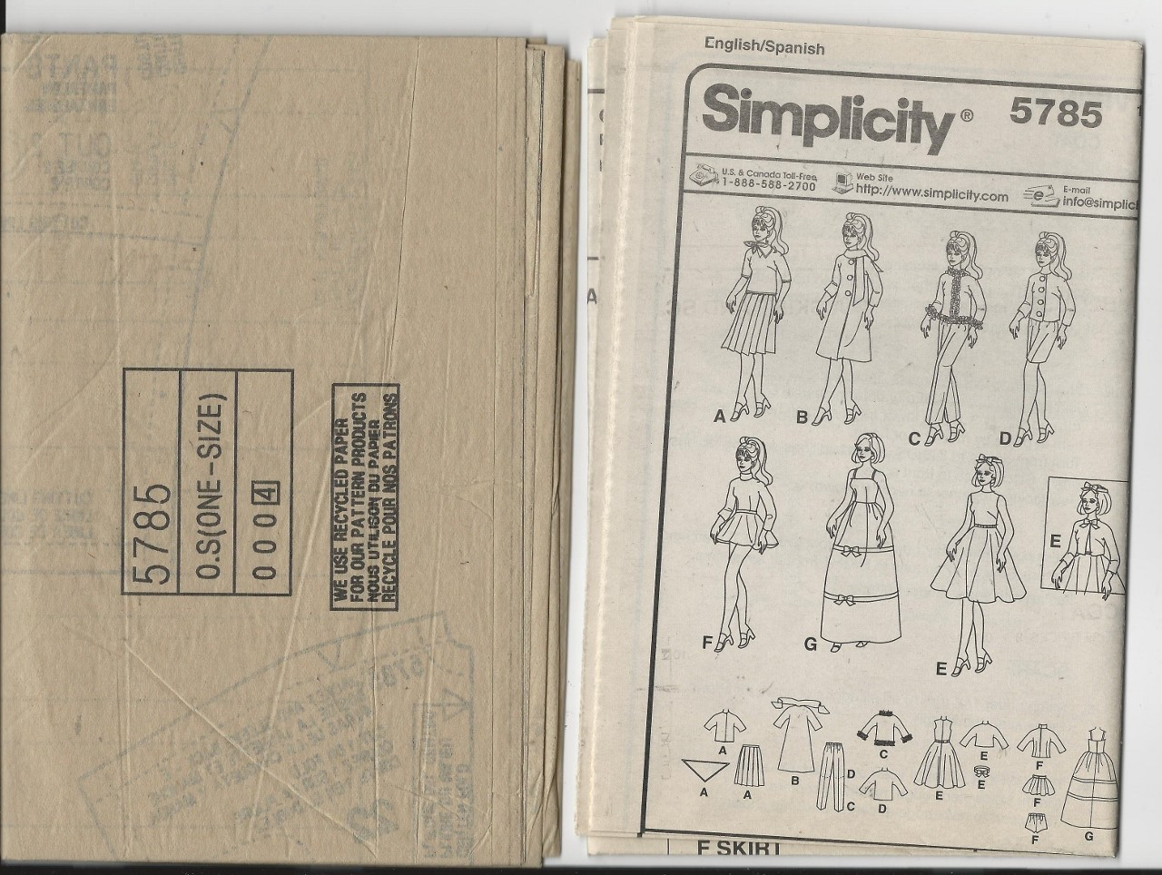Retro outfits Barbie Clothes, Simplicity Pattern 5785, Dresses, Blouses, Jacket