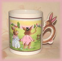 Bunny Rabbit Man Lady Scene Souvenir Cup Mug Colorful New - $6.99