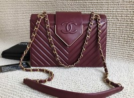 AUTHENTIC NEW Chanel Burgundy Quilted LAMBSKIN FLAP BAG GOLDTONE HW
