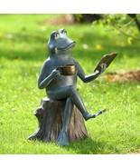Joy of Reading Frog Aluminum Garden Yard Sculpture Statue Outdoor,15''H - £126.69 GBP
