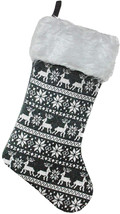 Northlight Reindeer and Snowflake Knit Christmas Stocking with Faux Fur ... - $21.34