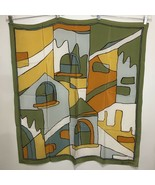 "Christian Fischbacher Silk Scarf 33"" Sq Olive Gray Gold Hand-Rolled Hem - $71.05"