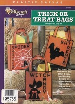 Trick or Treat Bags Plastic Canvas Witch Spider Bat Totes Halloween Patt... - $3.95