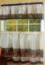 "Printed Curtains Set: 2 Tiers (58"" x 36"") & Valance (58""x13"") VEGGIES by Achim - $17.81"