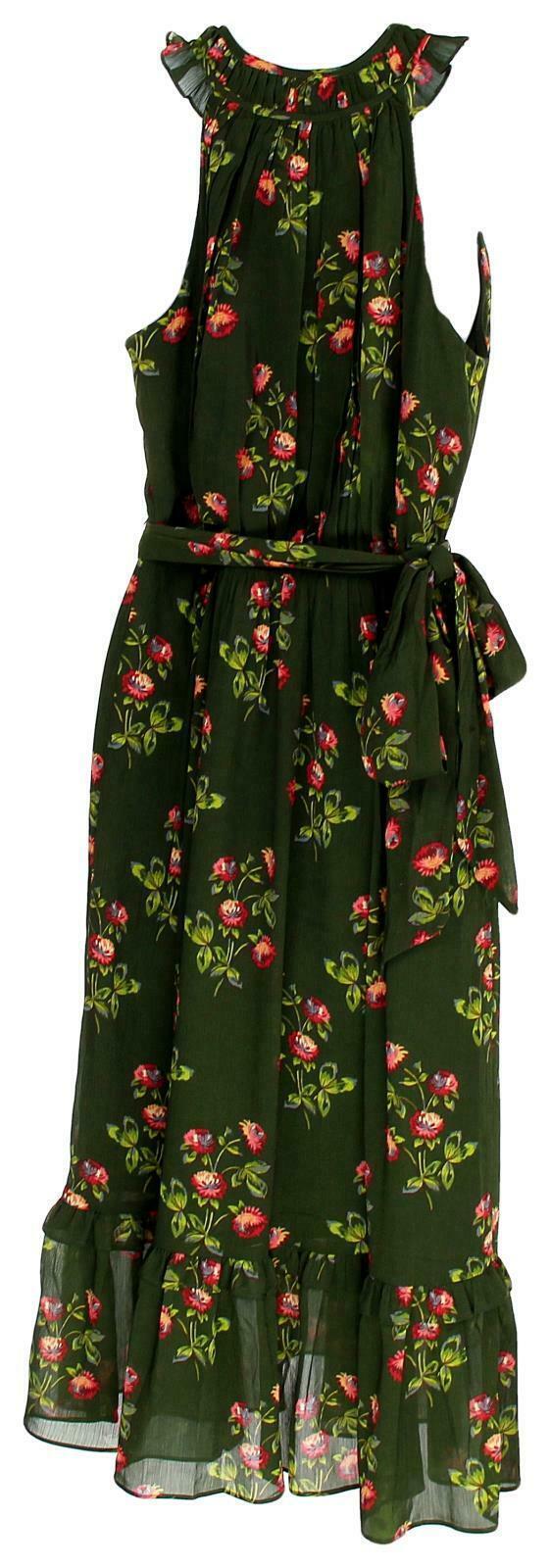 J Crew Women's Point Sur High-Neck Ruffle Floral Dress Chiffon 4 J5088 image 6
