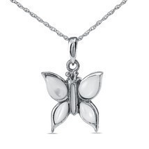 Sterling Silver White Butterfly Pendant/Necklace Funeral Cremation Urn f... - €75,54 EUR