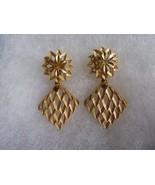 Vintage Crown Trifari Leafs Tear Drop  Clip Earrings Gold Tone - $44.05