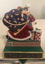 Mary Engelbreit Christmas Stocking Holder Hanger Santa Chimney BELIEVE C... - $37.13