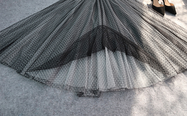 Black white long tulle 8