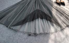 Black Polka Dot Tulle Skirt High Waisted Black Tulle Midi Skirt Outfit image 7
