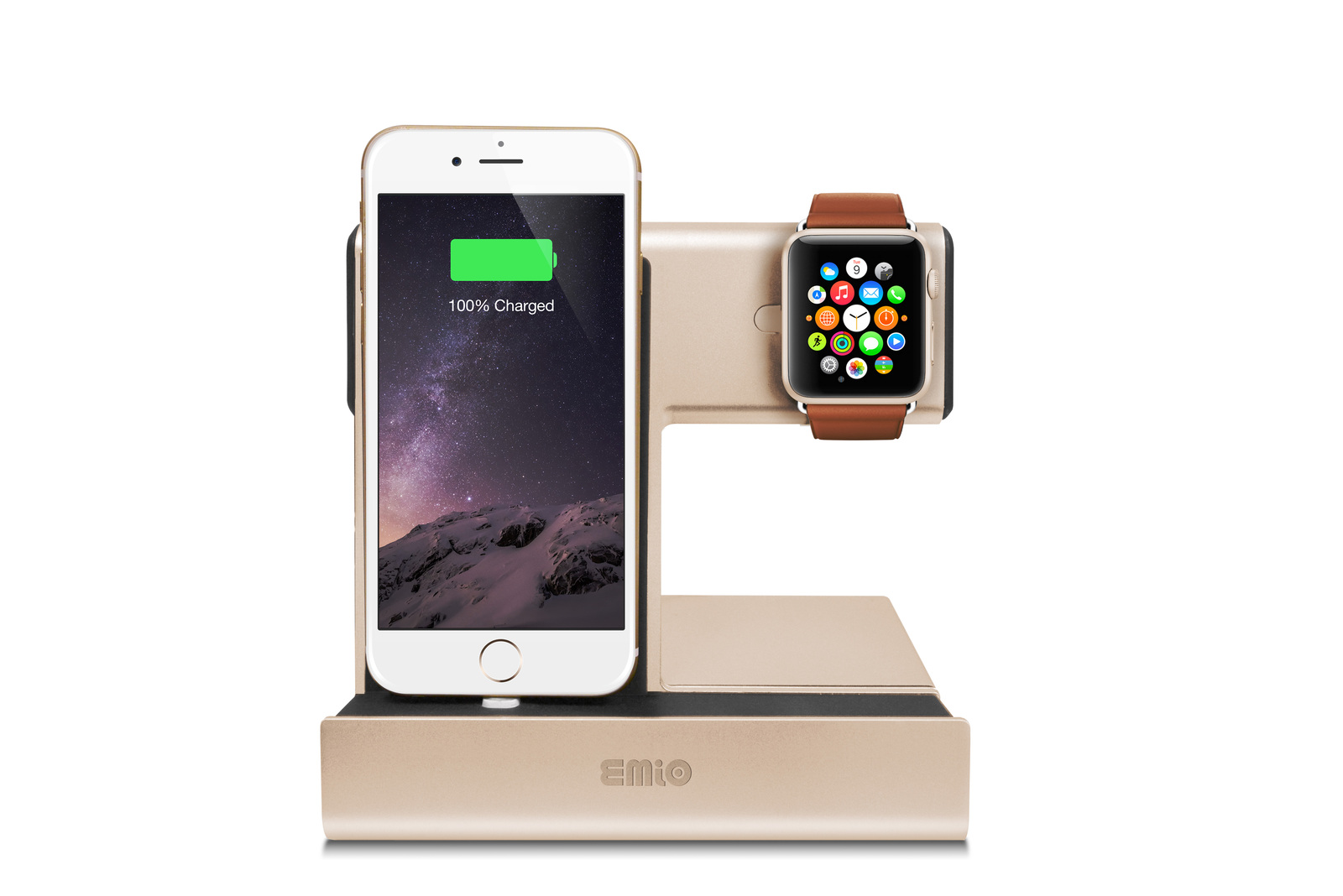 iPhone and iWatch Angled Charging Dock for Lighting Port Apple (Gold)